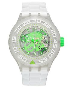 Swatch Watch, Unisex Swiss Chlorofish White Silicone Strap 44mm SUUK100 - All Watches - Jewelry & Watches - Macy's