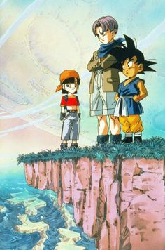 Dragon Ball GT. Pan, Trunks, and an unfortunately-turned-back-into-a-child-because-the-writers-didn't-give-af Goku.