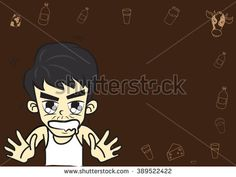 Cartoon boy lovely Character,The angry mood,On brown color background.
