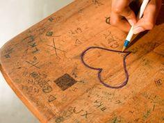 School desk graffiti Mine always said... China Loves? Or Chinita from the Bronx...ahhh... the 60s