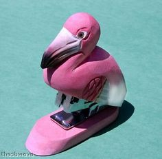 Hand Carved and Painted Wood Flamingo Stapler Land and Sea Flamingo Gifts, Flamingo Decor, Pink Flamingos, Pretty Birds, Pretty In Pink, My Favorite Color, My Favorite Things, Pink Bird, Fancy