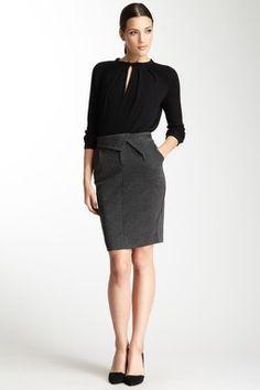 Foldover Houndstooth Skirt