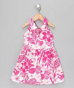 Love this Geranium Hawaiian Floral Button-Up Halter Dress - Toddler & Girls on #zulily! #zulilyfinds