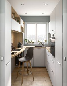 Galley Kitchen Design, Small Galley Kitchens, Kitchen Room Design, Home Decor Kitchen, Kitchen Interior, Home Kitchens, Small Kitchen Ideas On A Budget, Small Kitchen Storage, Small Pantry