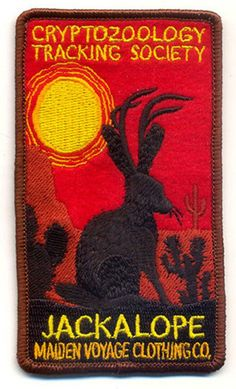 Our Cryptozoology Tracking Society patches are reminiscent of the old fashioned National Park patches, but each features a cryptid character Cool Patches, Pin And Patches, Iron On Patches, Jacket Patches, National Park Patches, Jack Rabbit, Mothman, Merit Badge, Morale Patch