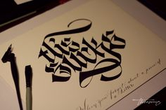 Calligraphi.ca - this sucks when I forget… - flat brush and copperplate nib - theosone