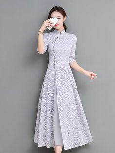 Gray&Coffee Lace A-line Long Cheongsam Ao Dai – uoozee Ao Dai, Indian Designer Outfits, Designer Dresses, Stylish Dresses, Fashion Dresses, Cheongsam Dress, Kurti Designs Party Wear, Designs For Dresses, Pretty Dresses