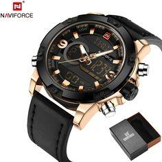 NAVIFORCE Original Luxury Brand Leather Quartz Watch Men //Price: $30.68 & FREE Shipping //     #hashtag4