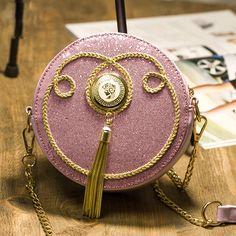 New arrival cute candy color round metal tassel sequins chain shoulder bag across body messenger bag ladies handbag flap purse