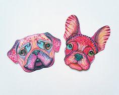 Etiqueta engomada linda del Bulldog Francés / / venta por TevaNova