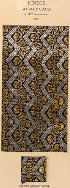 Silk woven with gold and silver-wrapped thread (zari)  Ahmedabad, Gujarat, India  Mid-19th century