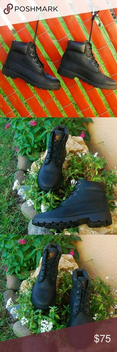 """Timberland Boots 6"""" Inches Junior Size fits Womens Timberland Boots  * New with original box * 6"""" Inches  * Leather  * Junior Size 5  fits Womens 6.5 * Color black * Great condition display  store pair. Timberland Shoes Ankle Boots & Booties"""
