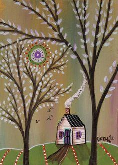 Serene Setting ORIGINAL Canvas Panel PAINTING FOLK ART 5 x 7 House Trees Karla G #FolkArtAbstractPrimitive