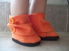 Orange Candy Apple Slouch Ankle Boots for  by LittleLadyDolls, $9.00
