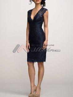 Easy navy v-neck lace cocktail dress