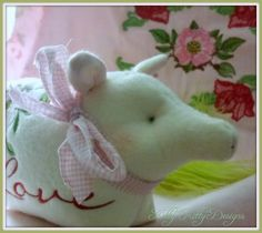 Piggy Mine 7X11 Machine Embroidery, Pixie, Dinosaur Stuffed Animal, Sewing Projects, Adoption, Toys, Children, Animals, Color