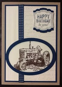 Hello, Harvest Blessing ( is the stamp set for today's card. 21st Birthday Cards, Masculine Birthday Cards, Handmade Birthday Cards, Masculine Cards, Male Birthday, Birthday Cakes, Boy Cards, Men's Cards, Horse Cards
