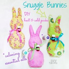 Snuggle Bunnies DIY heat and cold rice packs with calming essential oils @diyshowoff