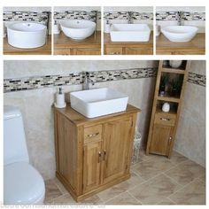 Bathroom-Vanity-Unit-Oak-Cabinet-Furniture-Wash-Stand-amp-White-Ceramic-Basin-503