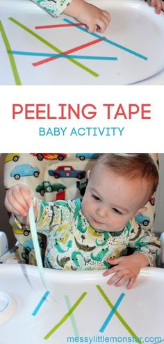Exfoliating Tape Fine Motor Activity # Baby activities Peeling Tape Fine Motor Baby Activity activities - Baby Development Tips Nanny Activities, Toddler Learning Activities, Infant Activities, Baby Room Activities, Infant Games, Fine Motor Activities For Kids, Cognitive Activities, Motor Skills Activities, Baby Sensory Play