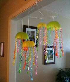 Jellyfish mobile // I think I'd like to do this with homemade newspaper-and-glue bowls.