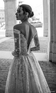 birenzweig 2018 bridal long sleeves off the shoulder deep plunging v neck full embellishment a line wedding dress sheer v back chapel train (1) zbv -- Birenzweig 2018 Wedding Dresses #wedding #bridal #weddings