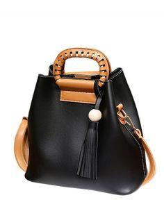 Tassel Wood Ball PU Leather Handbag - BLACK