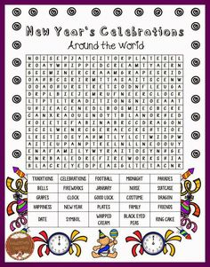 Classroom Freebies Too: New Year's Day Traditions Word Search: