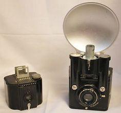 Vintage Kodak Brownie Cameras: Flash Six-20 w/Flash  Baby Brownie Deco Bakelite