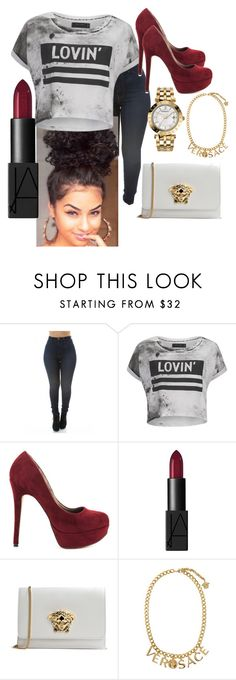 """""""Untitled #48"""" by gameofchancee ❤ liked on Polyvore featuring Religion Clothing, Michael Antonio, NARS Cosmetics and Versace"""