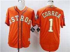 54ee8cf21 Houston Astros  1 Carlos Correa Orange 2018 Gold Program Cool Base Jersey