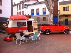 Here is a nice compact combo, a Eriba fiberglass trailer and VW Thing tow rig, although not sure I like the idea of camping in the middle of town