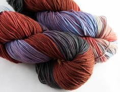 New variegated colorways from Jill Draper Makes Stuff Hudson. This one is called A Mughal's Riches and looks like a sunset over the mountains.