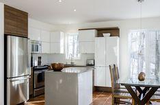 Cuisine contemporaine 1 Reno, Kitchen Interior, Decoration, Kitchens, Interior Design, Bathroom, Table, Furniture, Home Decor