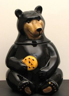 Ceramic Black Bear Cookie Jar