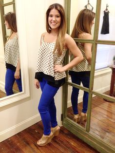 Polka dots and Cobalt blue. Love this combo! Shop Coveted Closet. Instagram: Coveted_Closet
