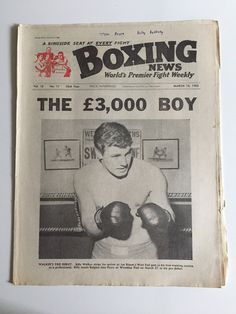 BOXING NEWS MARCH 16 1962 BILLY WALKER JOSE PEYRE PRO DEBUT BOXING NEWS World's Premier Fight Weekly - A ringside seat at every fight  Vol. 18 - No. 11 - 53rd Year - March 16, 1962  THE 3,000 POUND BOY Walker's pro debut. Billy Walker strips for action at Joe Bloom's West End gym in his first training session as a professional. Billy meets Belgian Jose Peyre at Wembley Pool on March 27 in his pro debut.  Slight yellowing to pages as normal for age. Annotation on top title page. Slight wear…