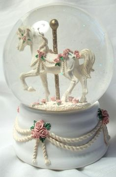 globe music boxes | ... Music Box Company Carousel Horse Snow Globe Roses - Music Boxes