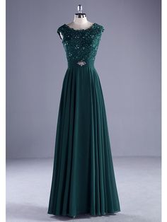 Ball Gown Scoop Neck Floor Length Chiffon Lace Formal Evening Dress with Beading Lace by ARMK Elegant Prom Dresses, A Line Prom Dresses, Formal Dresses For Women, Ball Dresses, Ball Gowns, Prom Gowns, Dress Formal, Evening Dresses Online, Cheap Evening Dresses