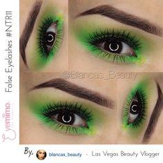 Las Vegas based Beauty & Lifestyle Vlogger, @blancas_beauty wearing our #falseeyelashes style #NTR11 with her monochrome green #eyemakeup  Shop false eyelashes at eyemimo.com