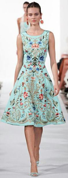 mint & pastel flowers spring dress by Oscar de la Renta 2014 Collection...perfect for a Guest attending a Garden Wedding