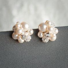 Pearl Cluster Wedding Earrings Bridal Stud by GlamorousBijoux, $58.00