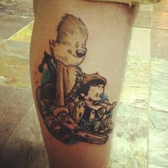 Eric at Revolver Tattoo, NJ. It's Calvin and Hobbes as Han Solo and Chewbacca riding the Millennium Falcon.