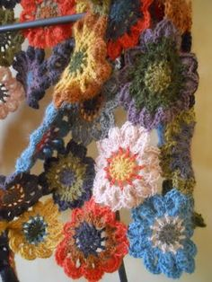 crochet - I really like this color combination.  Looks like a little garden