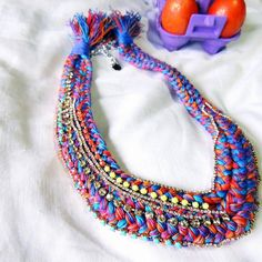 Colorful necklace, bib choker, bib necklace statement, braids necklace, braided necklace, unique jewelry, rhinestone necklace, color block by JewelryLanChe on Etsy #unique #colorful #necklace #etsy https://www.etsy.com/listing/230997447/colorful-necklace-bib-choker-bib?ref=shop_home_active_1