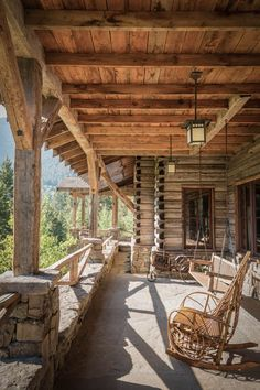 Paradise Mountain Lodge - Exterior View, rustic wood columns with supports, Miller Architects