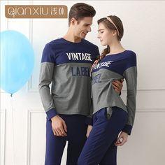 Couple pajamas set spring and autumn men and women pajamas long-sleeve  sleepwear ladies night wear home clothing 1615 1eab5e377