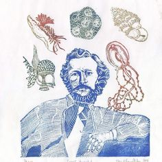 Happy birthday to #sciart pioneer Ernst Haeckel (1834-1919) #biologist and author of 'Artforms in Nature' is shown in my #linocut with some of his creatures. #printmaking #marinebio #biology #histstm #printmaking