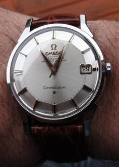 omegaforums: Stunning Vintage Omega Constellation Piepan Chronometer In Stainless Steel Circa Fancy Watches, Old Watches, Stylish Watches, Luxury Watches For Men, Vintage Watches, Gents Watches, Omega Constellation, Hand Watch, Vintage Omega