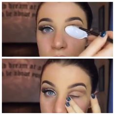 Use a spoon for a cut crease - sweep neautral eyeshadow over your lid, then use a spoon to apply darker shadow above.